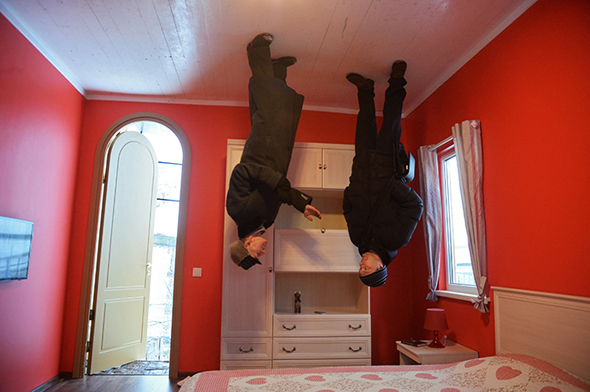 Opening of new amusement ride, upside-down house at VVC