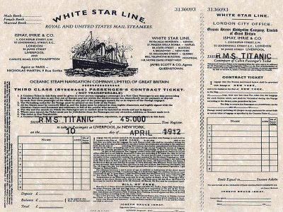 titanic original ticket