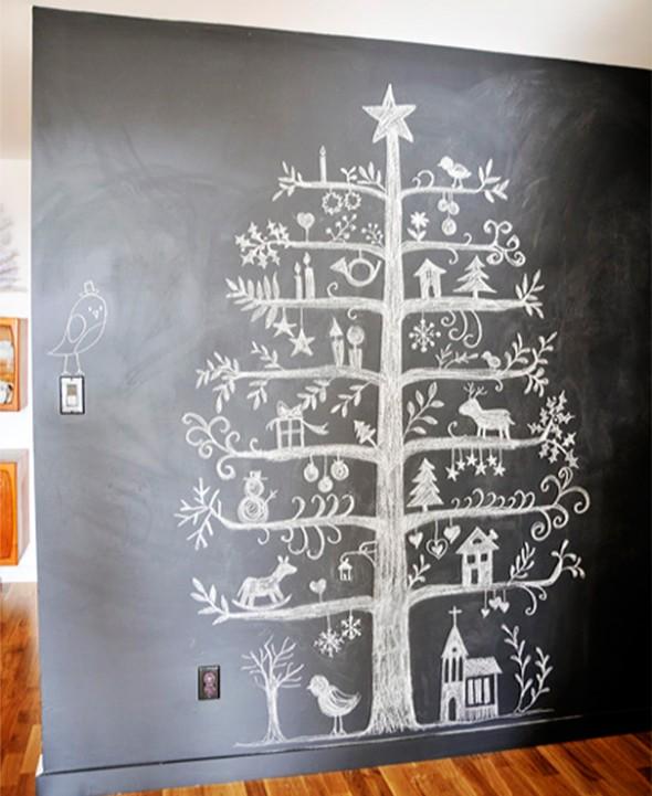 #8 Christmas Tree Drawn On A Blackboard