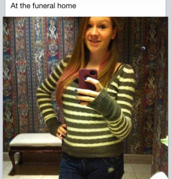 A funeral home is NOT the place to take a selfie.